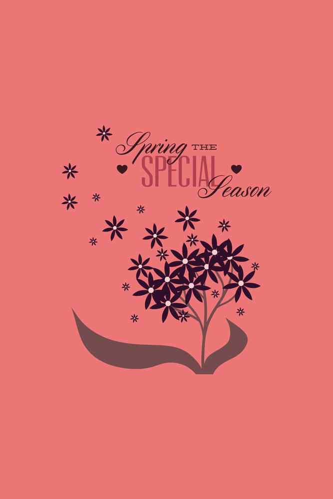 Vector Illustration With Flower Heart And  (editable Text)