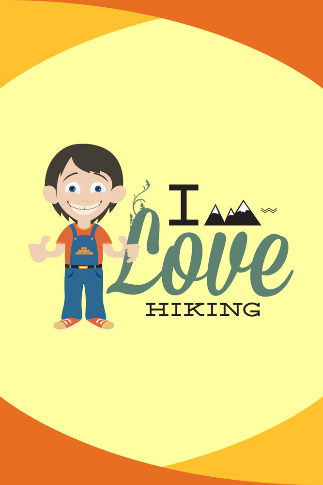Vector Illustration With Hiking People And People (editable Text)