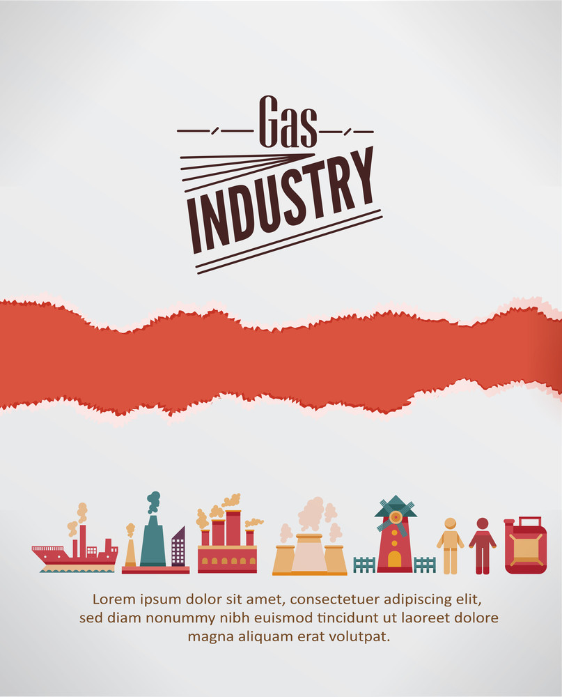Vector Illustration With  Industrial Elements With Torn Paper (editable Text)