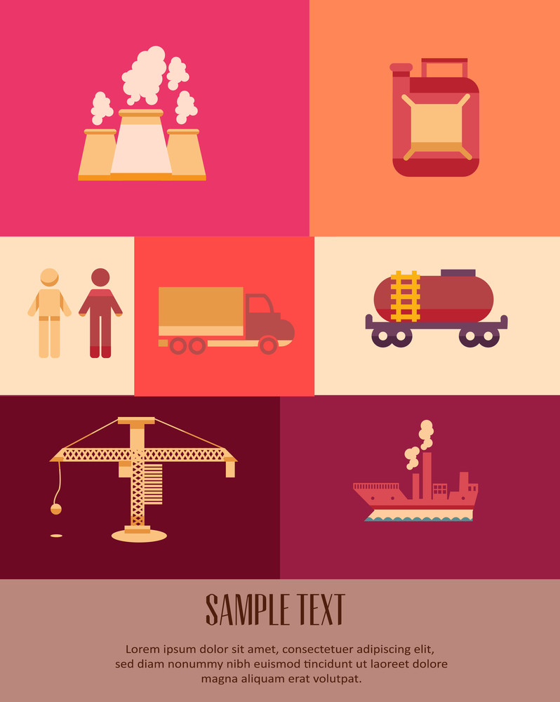 Vector Illustration With Industrial Icons (editable Text)