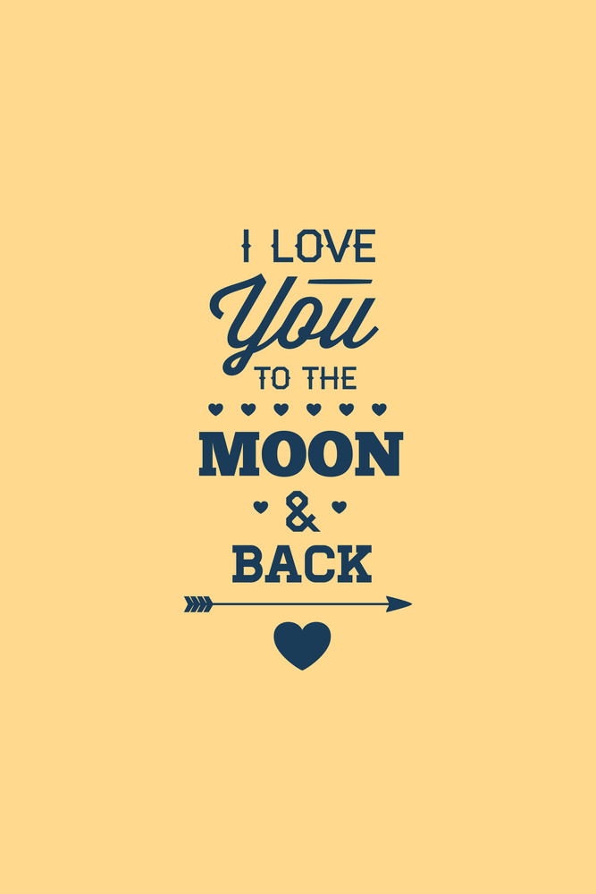 Vector Illustration With Love Moon And  (editable Text)