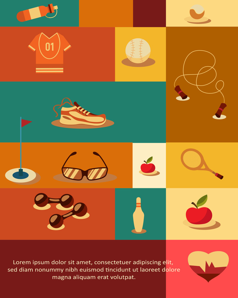 Vector Illustration  With Sport Elements (editable Text)