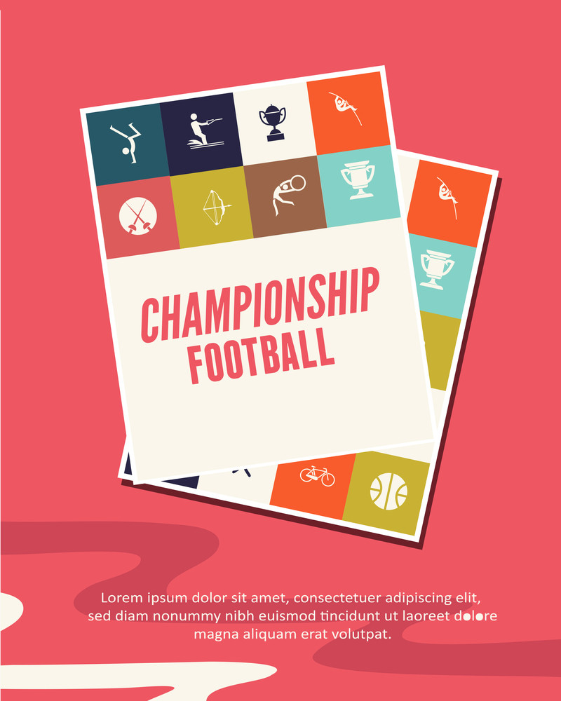 Vector Illustration  With Sport Icons (editable Text)
