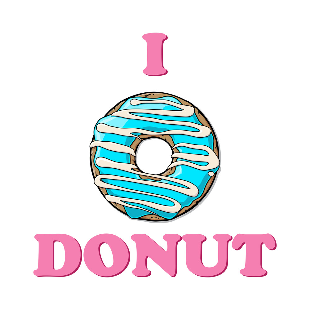 Vector Illustration With Text And Donut.