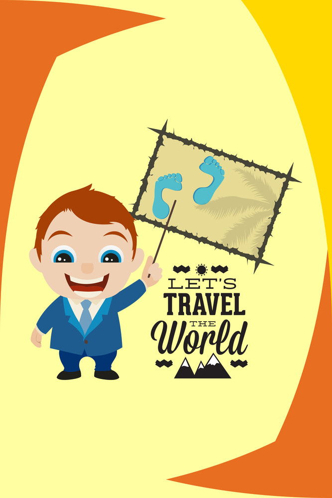 Vector Illustration With Travel And People (editable Text)