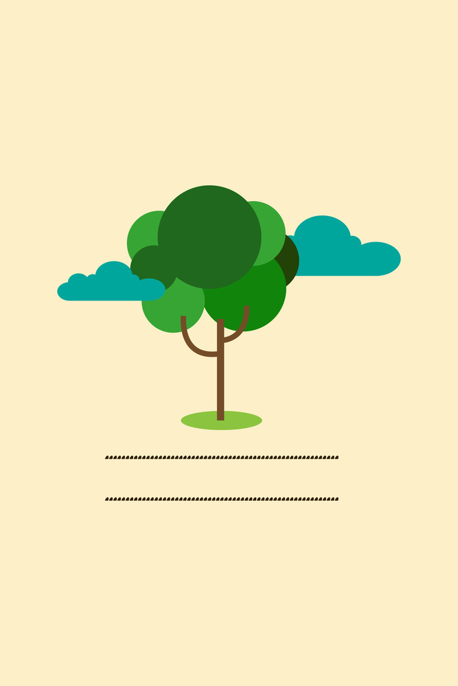 Vector Illustration With Tree Clouds  And  (editable Text)
