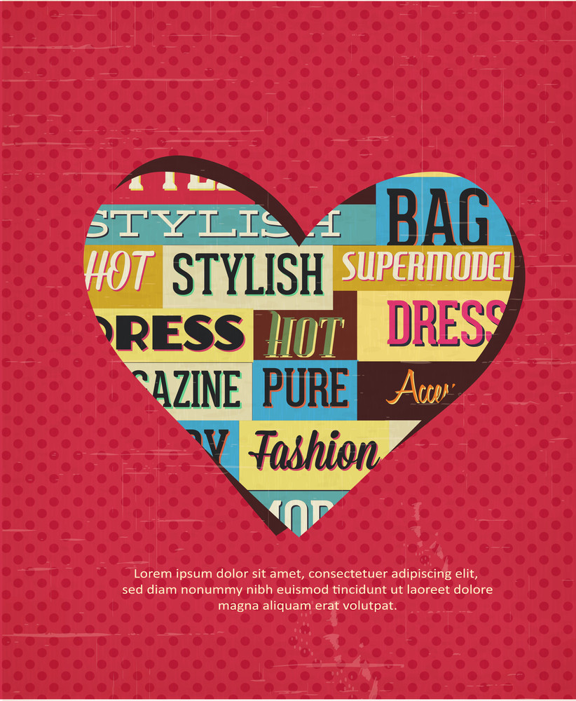Vector Illustration With Typography Elements And Heart Shape (editable Text)