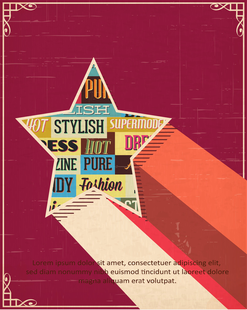 Vector Illustration With Typography Elements And Star Shape (editable Text)