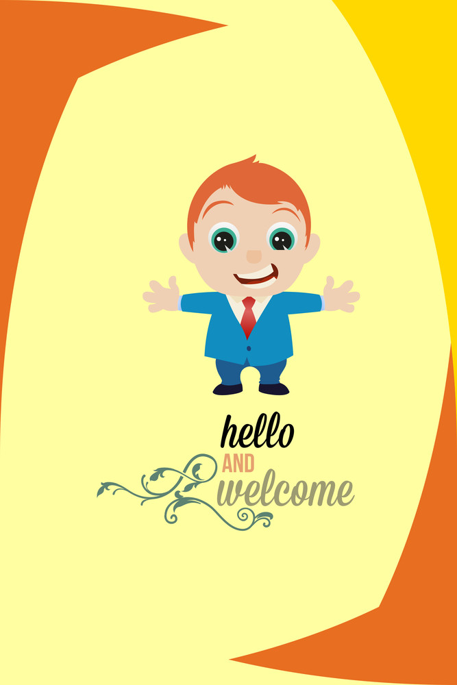 Vector Illustration With Welcome And People (editable Text)