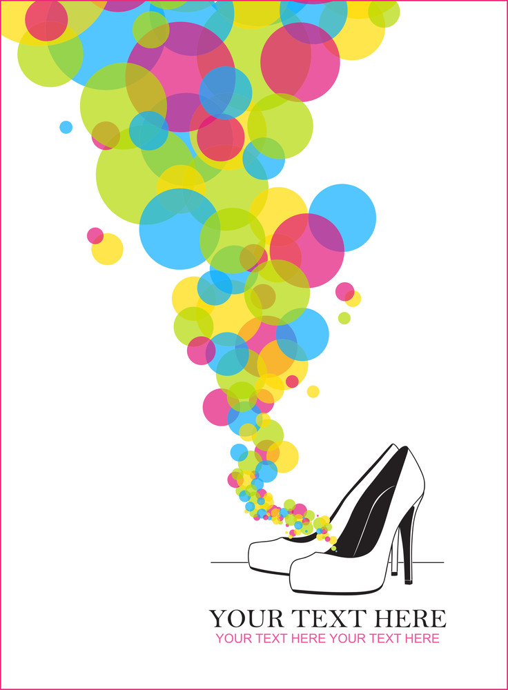 Vector Ilustration Of A High-heeled Shoes And Balloons.