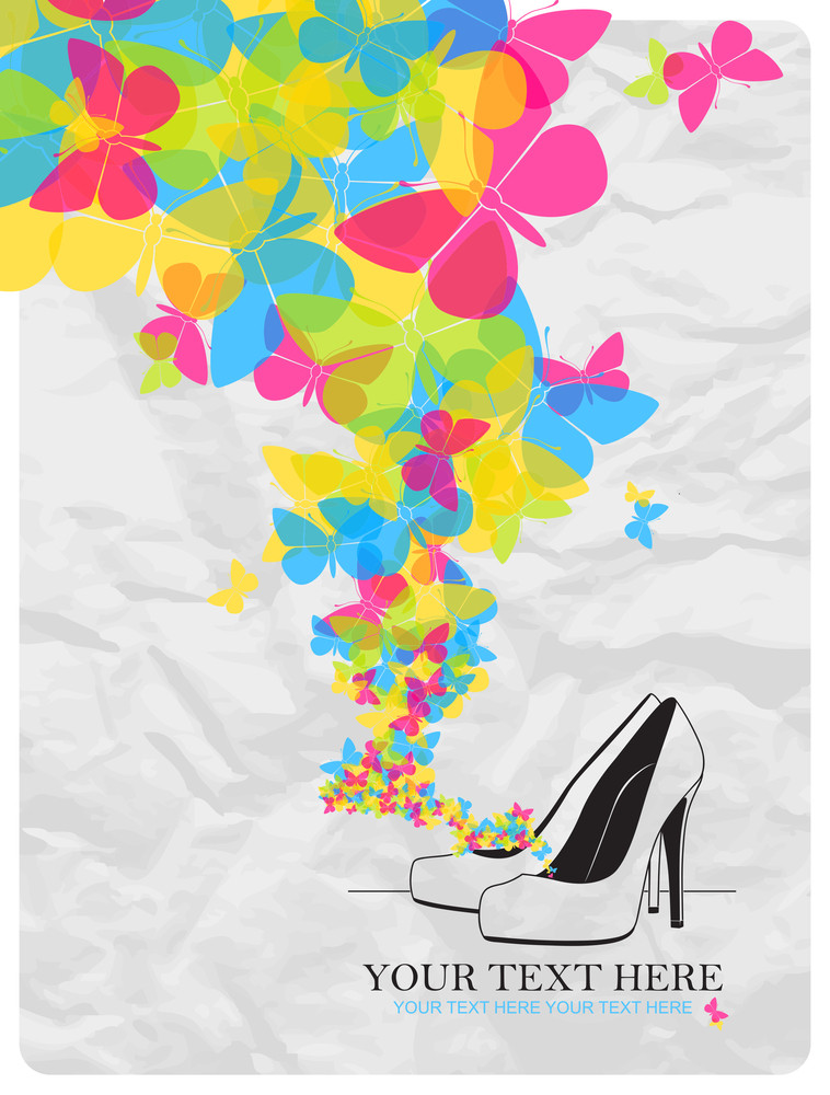 Vector Ilustration Of A High-heeled Shoes And Butterflies.