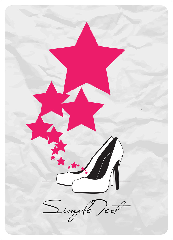 Vector Ilustration Of A High-heeled Shoes And Stars.