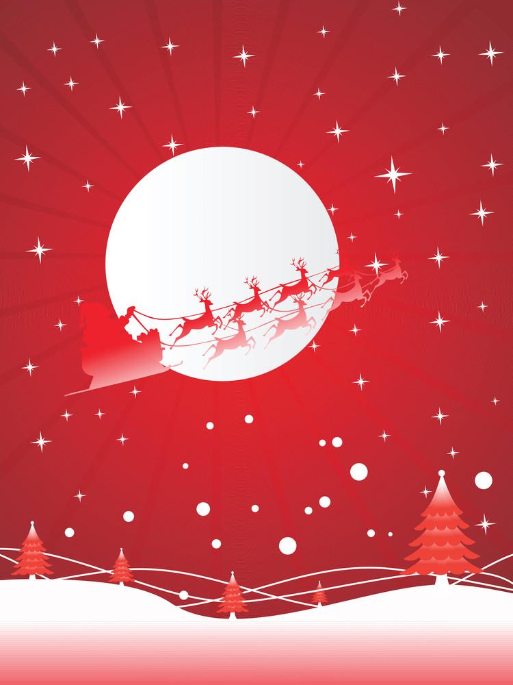 Vector Image Of Santa Claus On Sleigh At Night