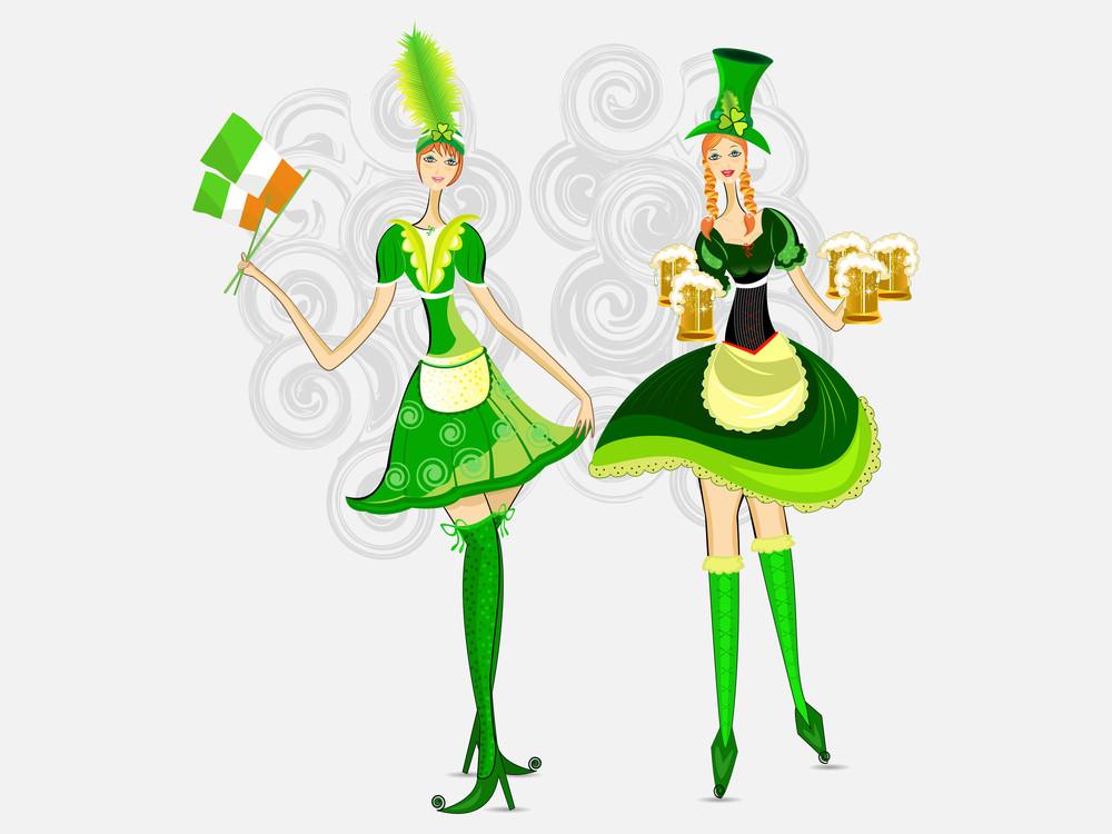Vector. Irish Girls For St. Patrick's Day.