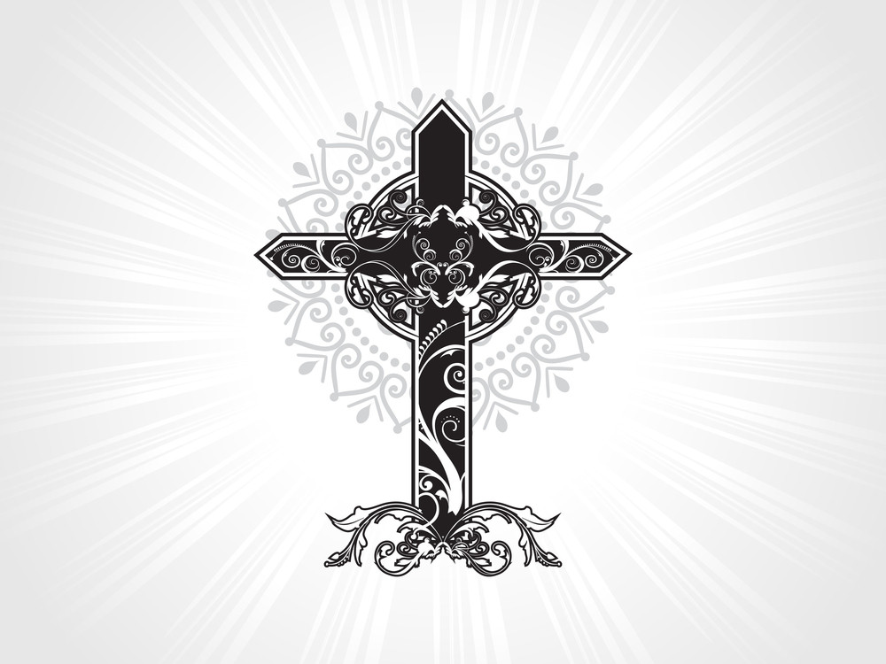 Vector Isolated Decorated Christian Cross