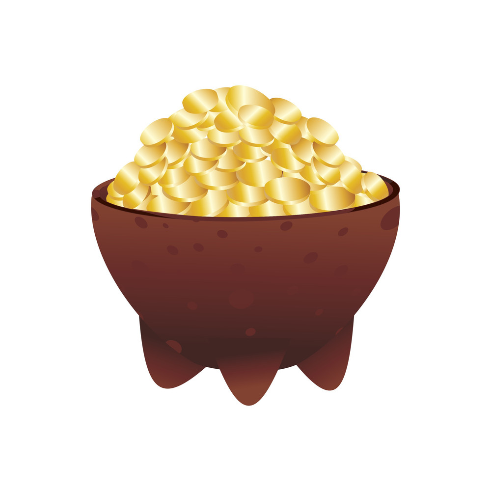 Vector Isolated Gold Coins Earthenware