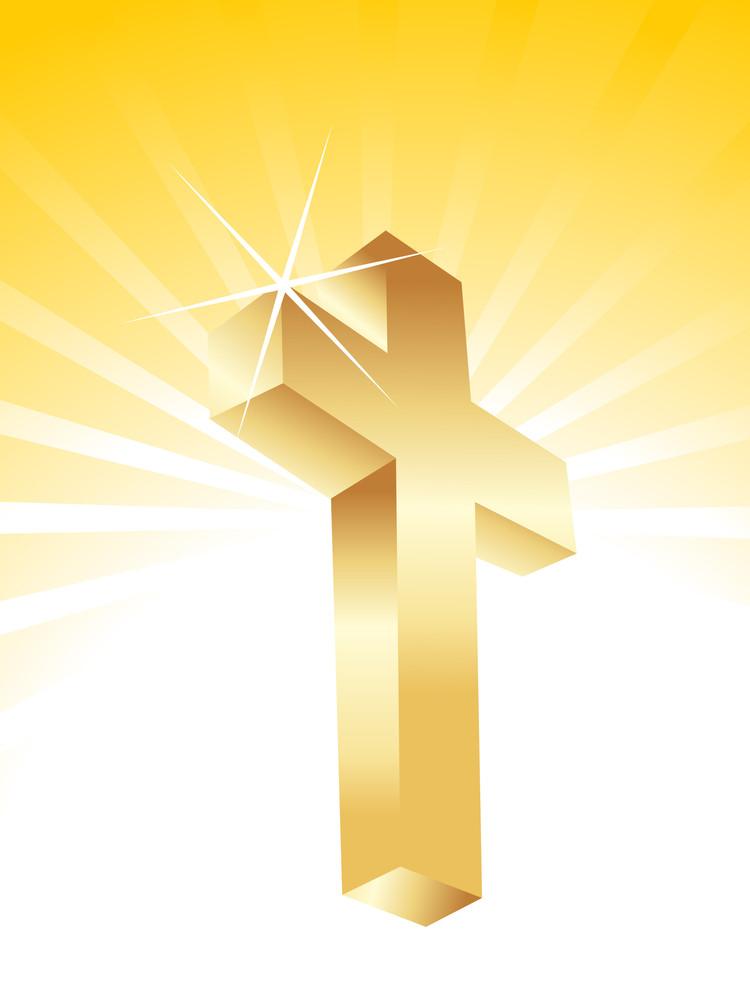 Vector Isolated Golden Cross