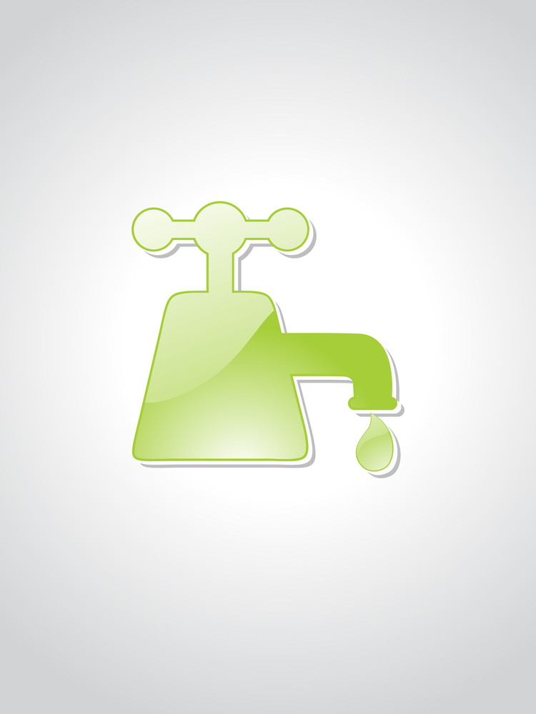 Vector Isolated Green Tap With Background