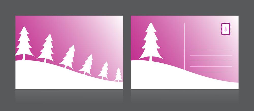Vector Isolated Merry Xmas Postcard