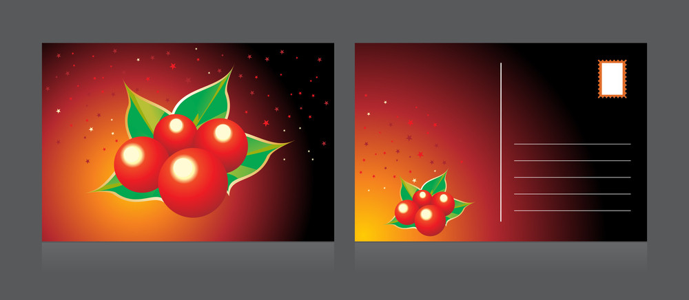 Vector Isolated Xmas Day Postcard