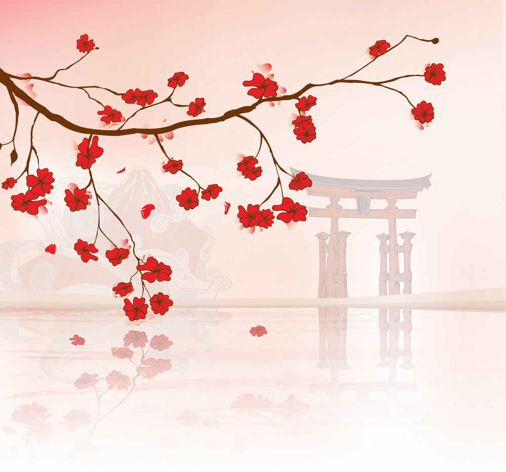 Vector Japanese Floral Background