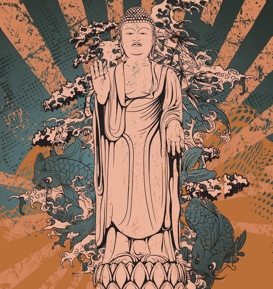 Vector Japanese Grunge Background With Buddha