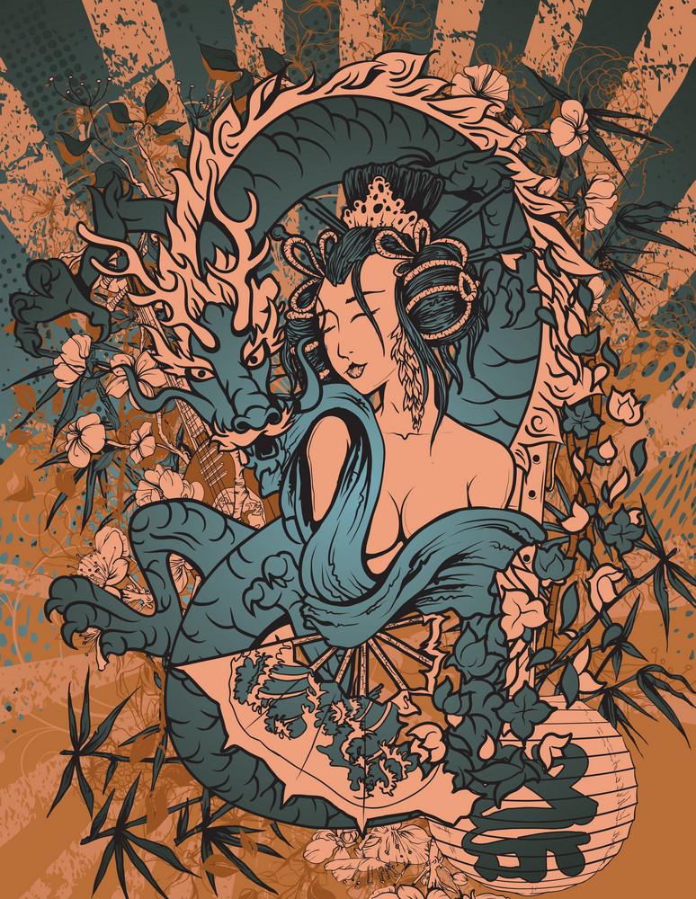 Vector Japanese Grunge Background With Geisha