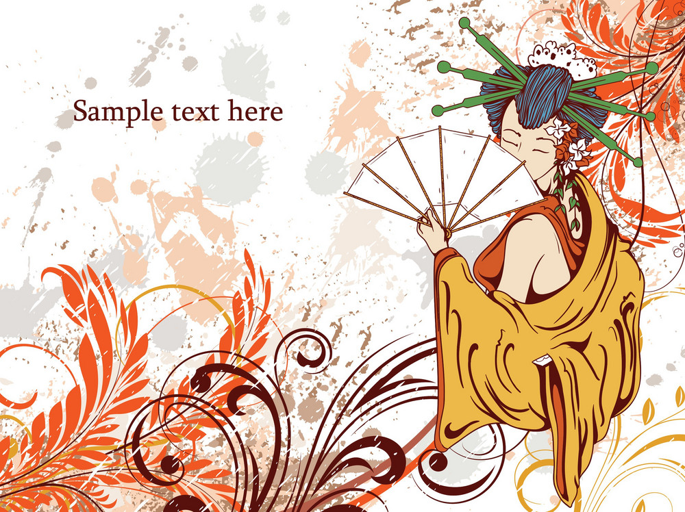 Vector Japanese Grunge Floral Background With Geisha