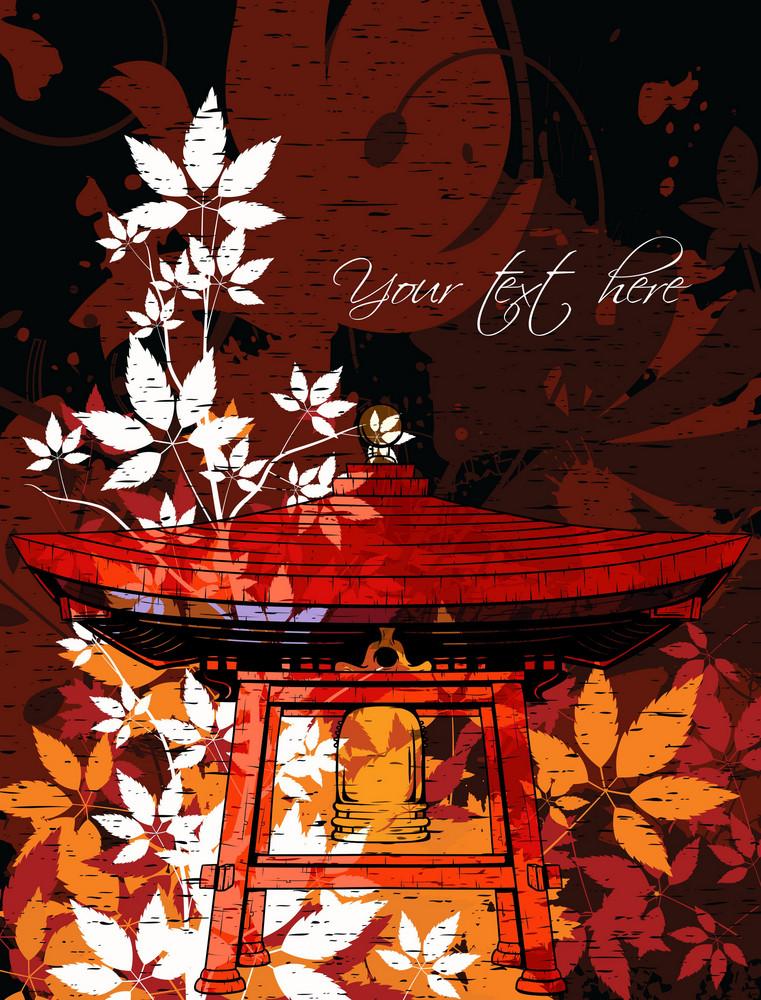 Vector Japanese Grunge Floral Background