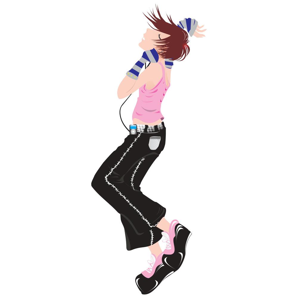 Vector Jumping Girl Listening Music