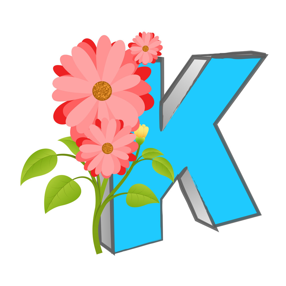 Vector K Alphabet With Flower