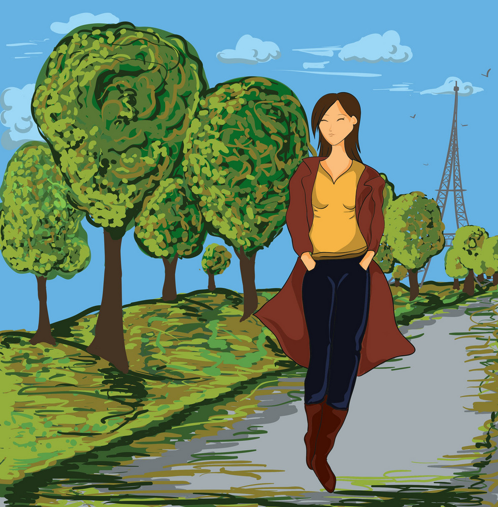 Vector Lady With Trees