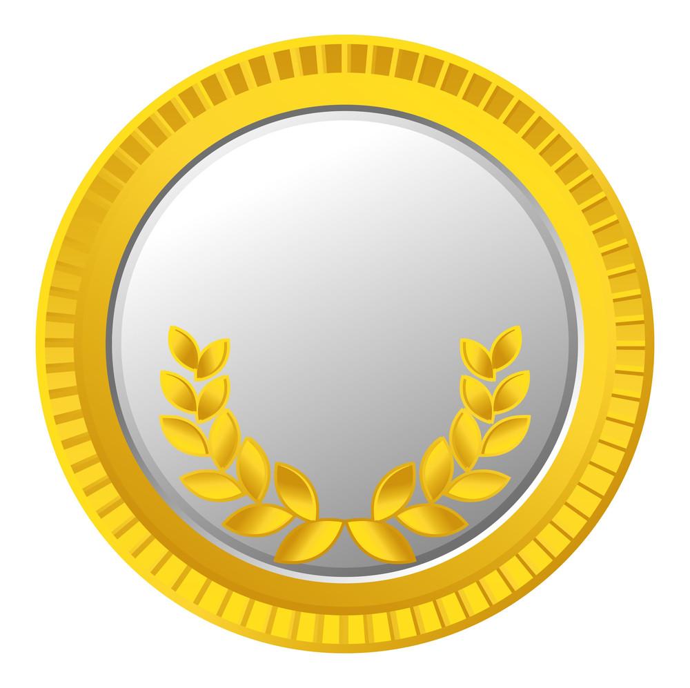 Vector Laurel Wreath Gold Coin