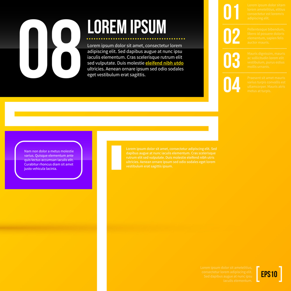 Vector Layout Template On Bright Yellow Background. Eps10