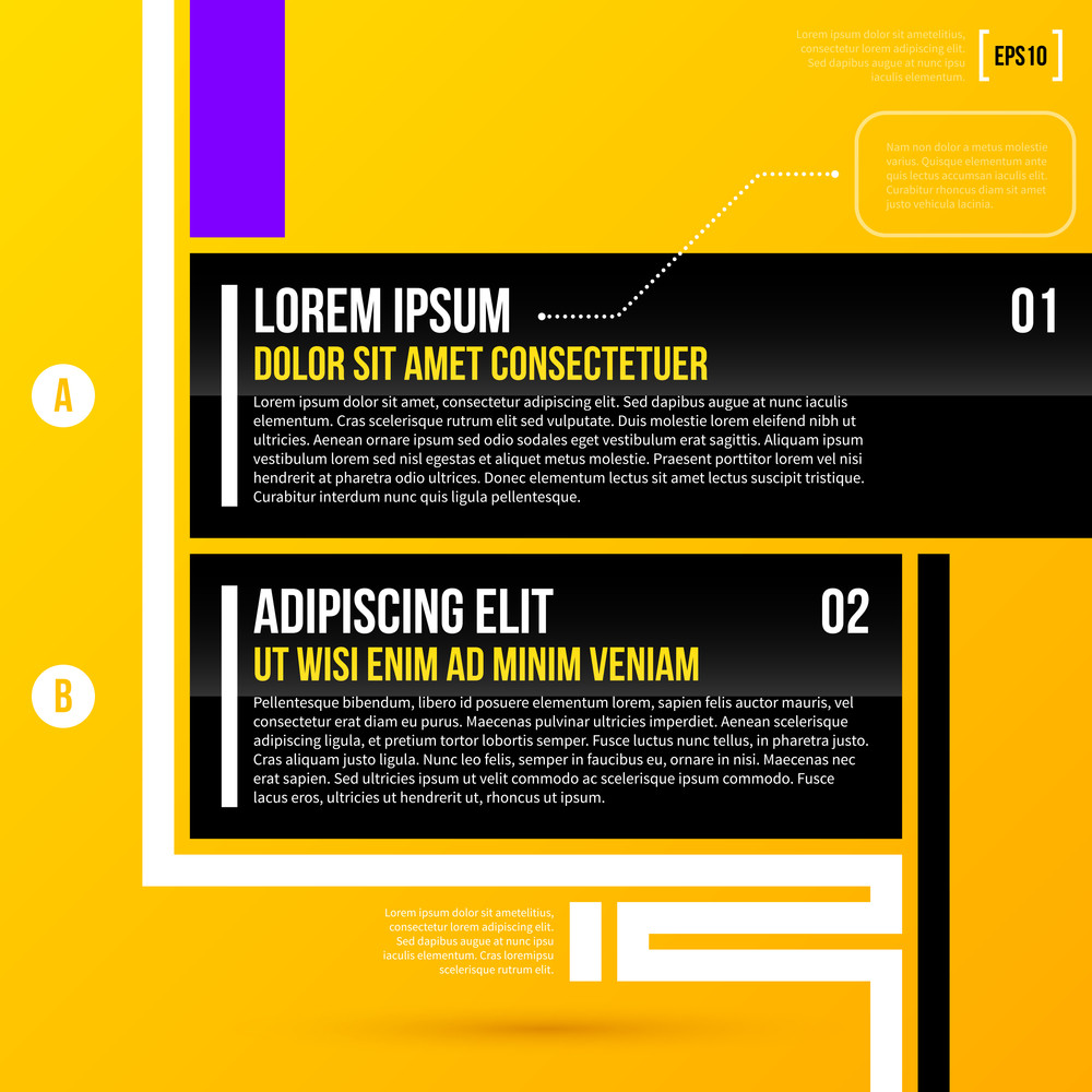 Vector Layout With Two Options And Decorative White Stripes On Bright Yellow Background. Eps10