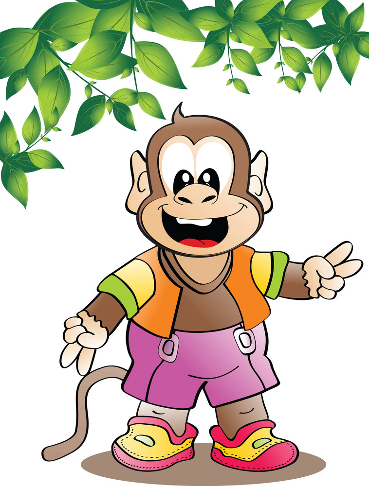 Vector Leaves With Monkey