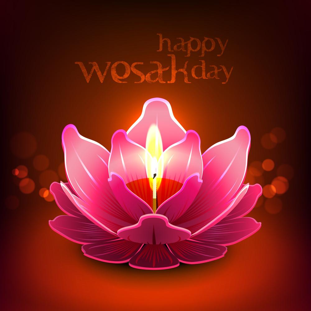 Vector Lotus Oil Lamp For Wesak Day