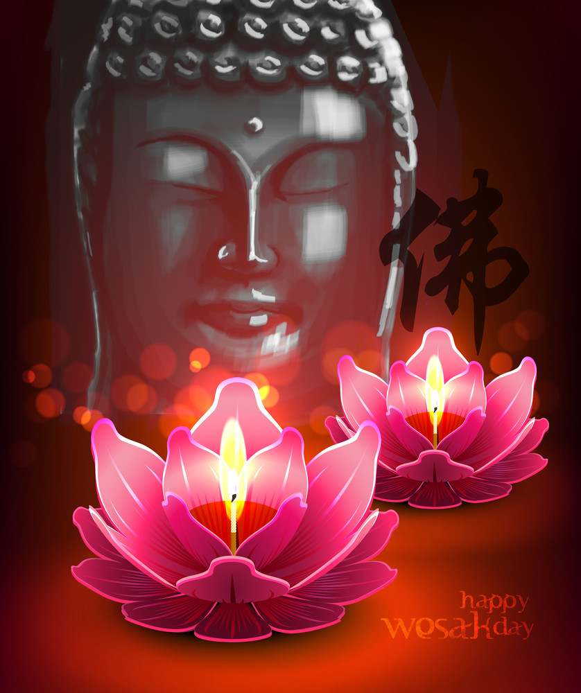 Vector Lotus Oil Lamp With Buddha Portrait Royalty Free Stock Image Storyblocks