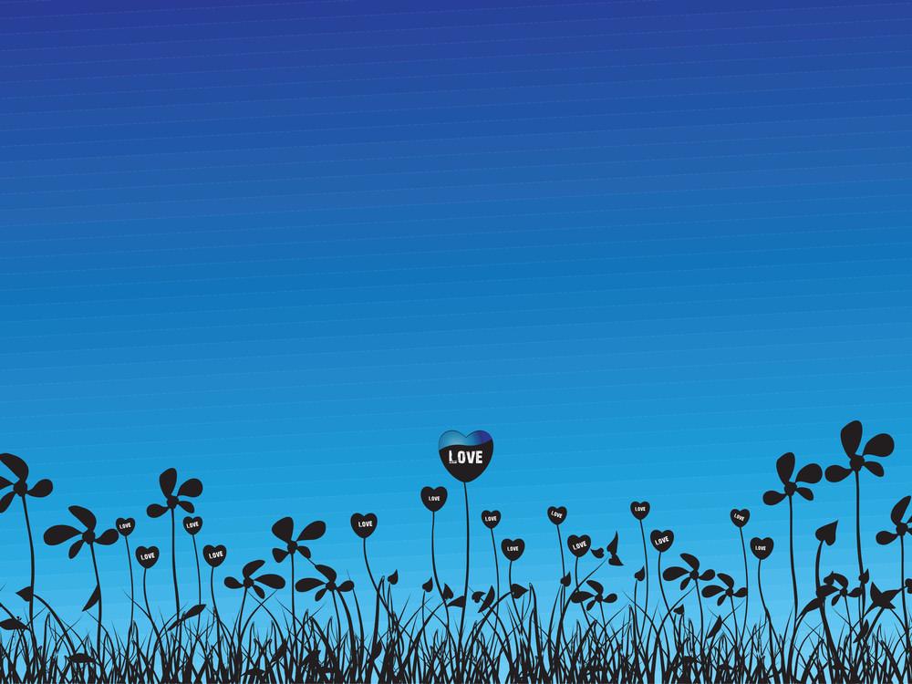 Vector Love Plants With Flower Blue Illustration