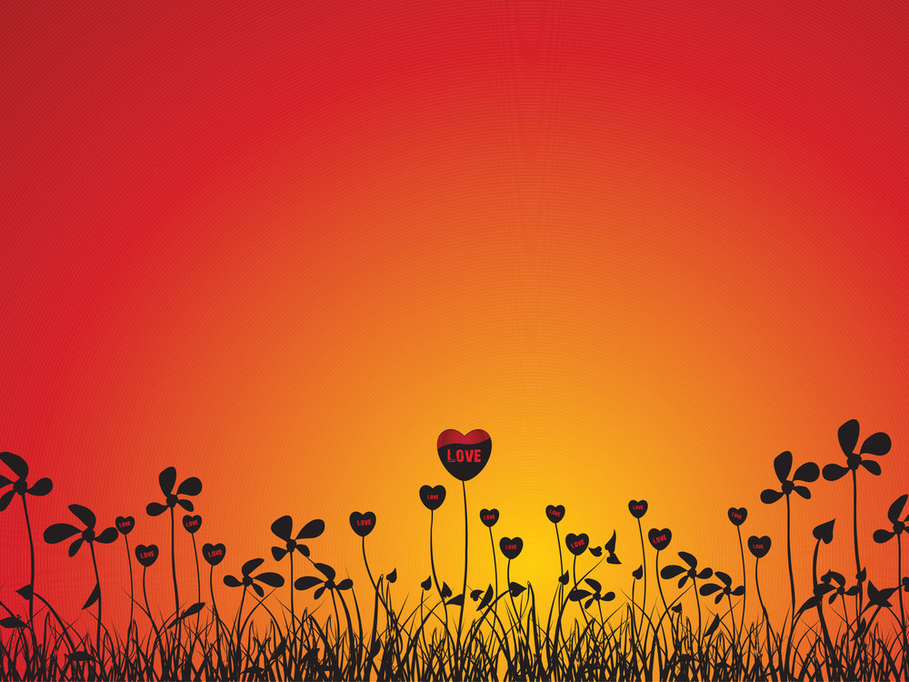 Vector Love Plants With Flower Red Illustration