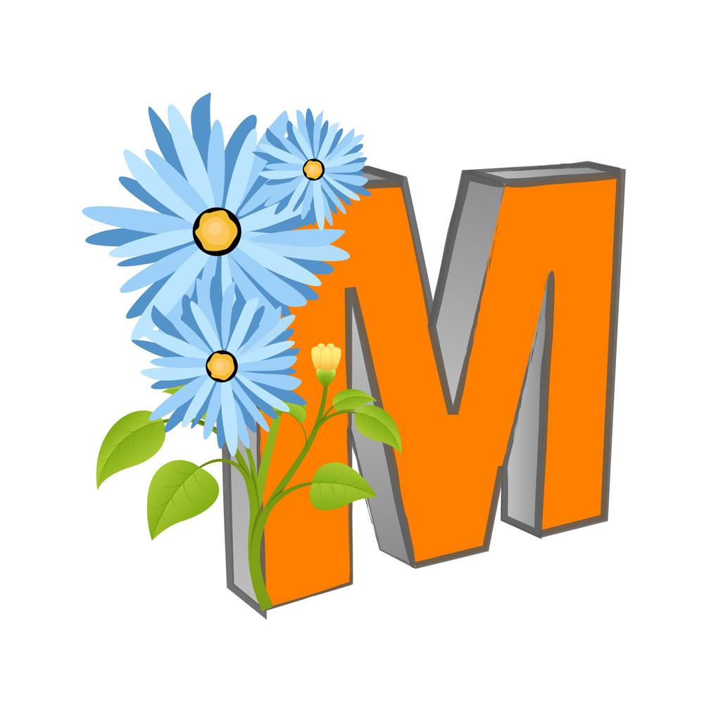 Vector M Alphabet With Flower