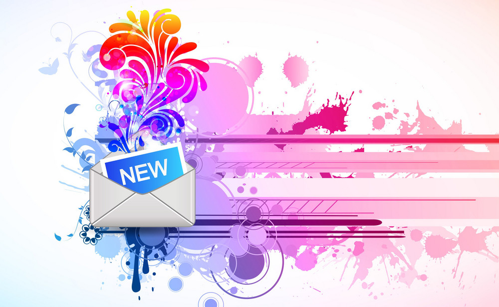 Vector Mail Icon With Floral And Splash