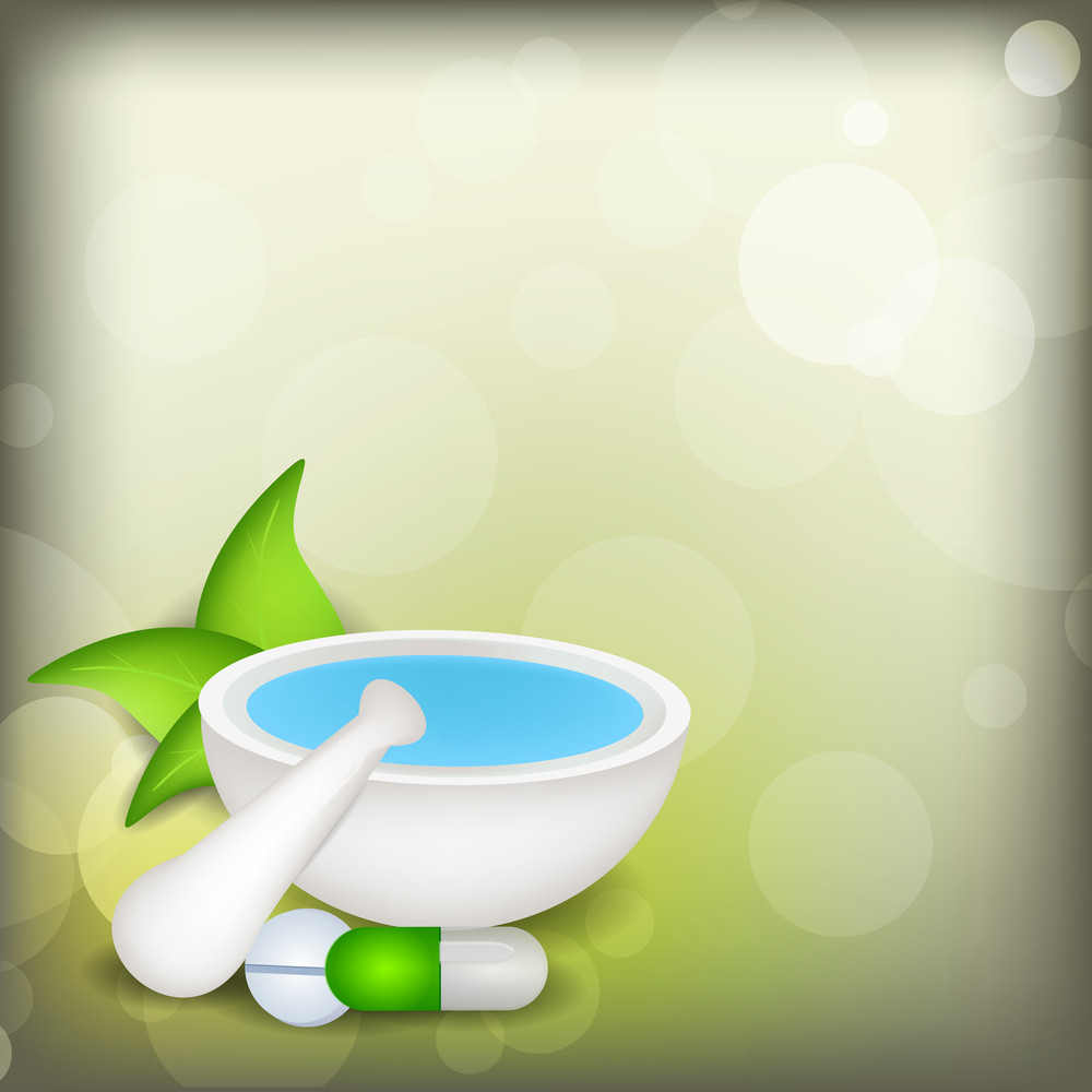 Vector  Medical Background With Mortar And Pestle And Green Leaves On Shiny Green Background.