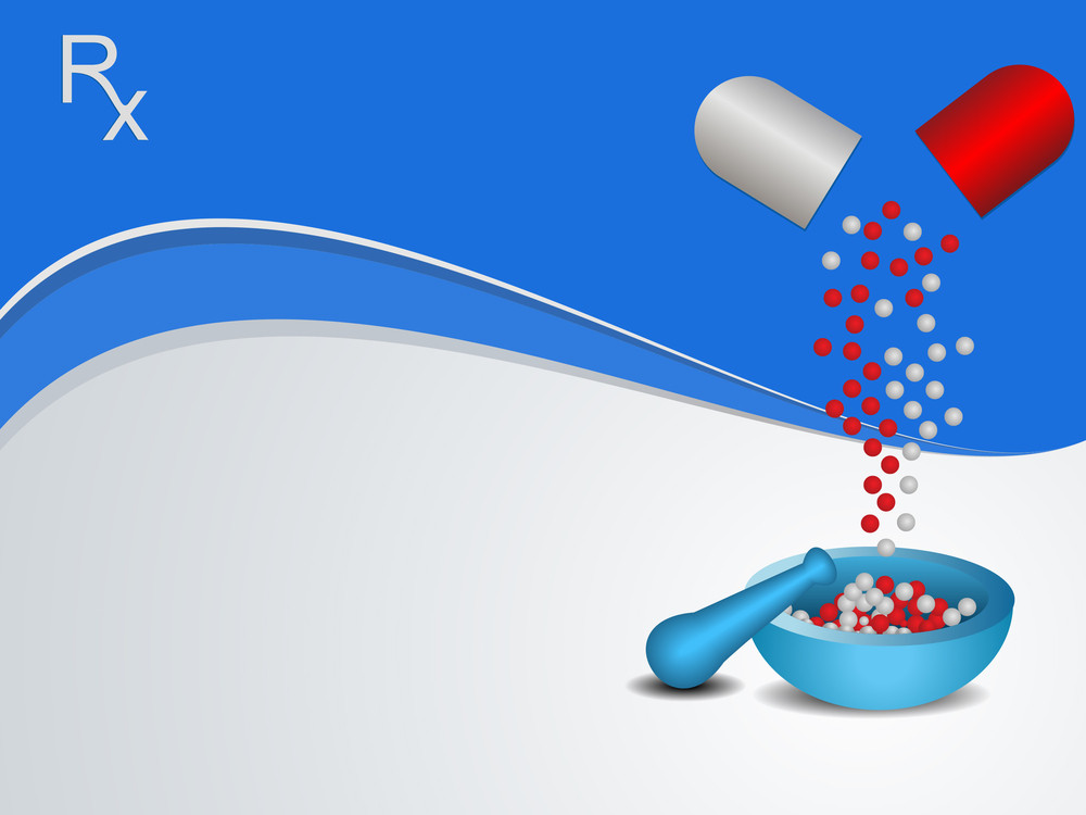 Vector Medical Background With Mortar And Pestle
