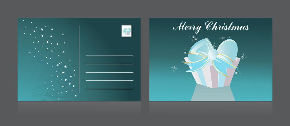 Vector Merry Xmas Day Postcard