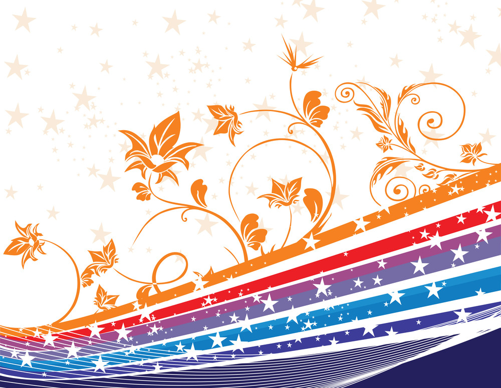 Vector Metallic Lines And Flowers On Stars Background