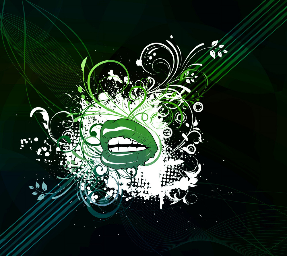 Vector Mouth With Abstract Background