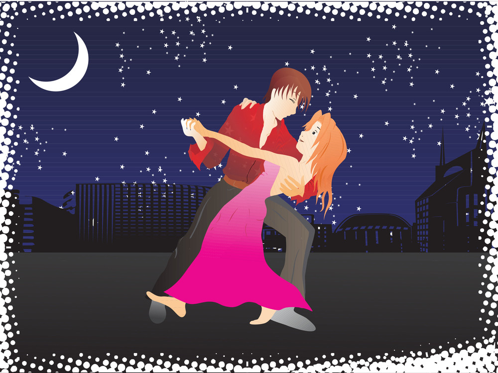 Vector Music City Night Background And Tango Dancer Couple_1