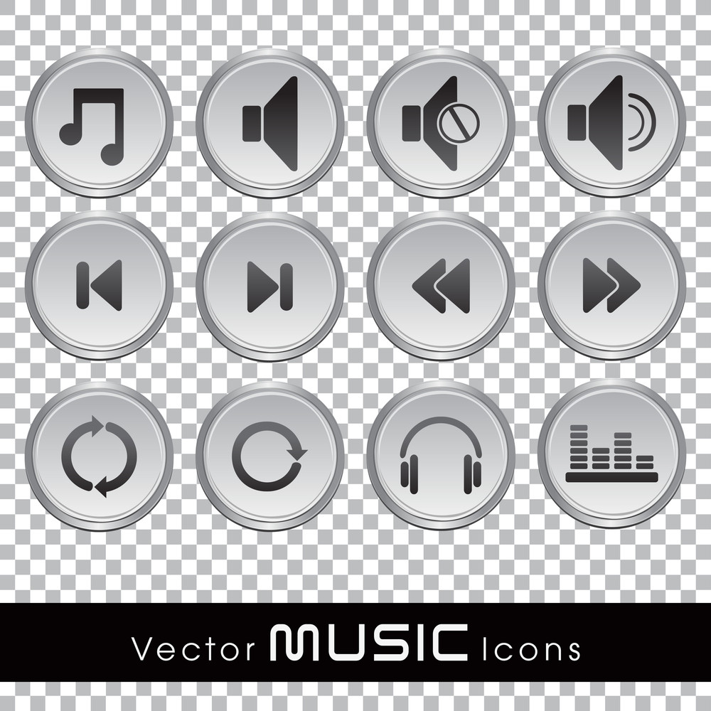 Vector Music Glossy Web Icons In Transparent Background.