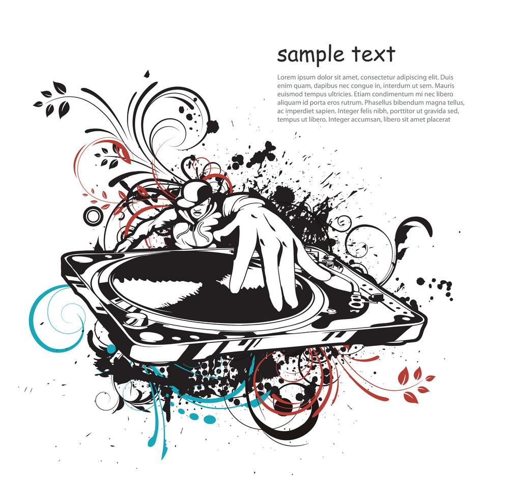 Vector Music Illustration With Dj